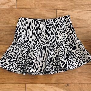 Zara Black and White Leopard Skirt